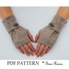 Fingerless Glove Pattern with Strap. PDF Glove Sewing Pattern.. $7.45, via Etsy.