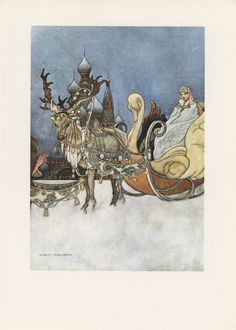 Fantasy Fairy Tale, Russian Princess, Charles Robinson, Snow Queen Sleigh With Reindeer, Printed In Italy, Antique Children Print,. via Etsy.