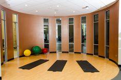 Yoga/stretching area inside the gym!