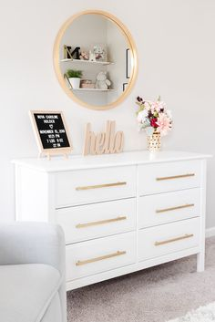 White dresser and gold mirror - A full room reveal of the neutral feminine nursery for our baby girl. See every detail and design element of this beautiful, bright and modern nursery. Gold Room Decor, White Room Decor, Gold Rooms, White And Gold Dresser, White And Gold Decor, White Girls Rooms, White Bedrooms, Room Ideas Bedroom, Home Room Design