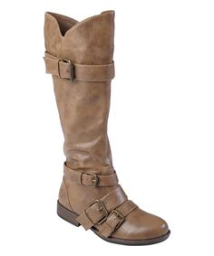 Another great find on #zulily! Taupe Rachel Buckle Wide-Calf Boot by Journee Collection #zulilyfinds