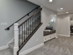 Whether you want to cool chic look or a more dramatic themed basement, check out these finished basement ideas to help with your next remodeling project. Gray Basement, Basement Staircase, Basement Living Rooms, Basement Layout, Basement Apartment, Basement Flooring, Cool Basement Ideas, Basement Ceilings, Modern Basement