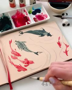Watercolor Painting Techniques, Watercolour Tutorials, Artist Painting, Watercolour Painting, Painting & Drawing, Watercolors, Watercolor Koi, Watercolor Illustration, Art Painting Gallery