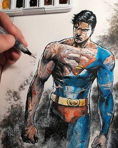 Superman Comic, Batman, Superboy Prime, Dc Comics, Afro Samurai, Dc World, Adventures Of Superman, Dc Characters, Watercolors