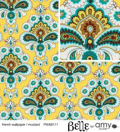 Belle by Amy Butler for Rowan Fabrics - French Wallpaper Mustard - Half Yard