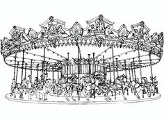 Carousel coloring pages for a craft activity. | k5 | Pinterest ...