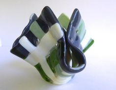 Glass Votive Candle Holder in Gray Green and French by bprdesigns, $25.00