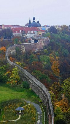 Great Wall in Prague with Karlov church on top - Vyšehrad, Prague, Czechia