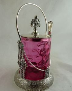 Antique Victorian Cranberry Glass Pickle Castor Silver Plate from .