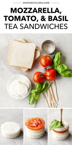 These Mozzarella, Tomato, and Basil Tea Sandwiches are the perfect crustless, tasty treats to serve up on a warm tea time afternoon! Made with mozzarella cheese, cocktail tomatoes, basil, and white bread, these finger sandwiches are completely adorable and easy to make. Learn the step-by-step here - click to continue. High Tea Sandwiches, Finger Sandwiches, Sandwich Recipes, Snack Recipes, Basil Tea, Hot Tea Recipes, Tea Time Snacks, How To Make Tea, White Bread