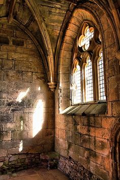 Medieval, Ayrshire, Scotland which reminds me of a Church we have in SB. Beautiful Buildings, Beautiful Places, Church Windows, Cathedral Windows, Old Churches, Medieval Castle, Gothic Architecture, Old Buildings, Middle Ages