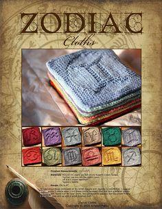 Ravelry: Zodiac Cloths pattern by Kris Knits Dishcloth Knitting Patterns, Crochet Dishcloths, Knit Patterns, Clothing Patterns, Stitch Patterns, Knit Crochet, Zodiac Clothes, Knitted Washcloths, Crochet Kitchen