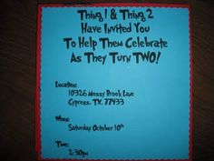 Thing 1 & Thing 2 birthday party invites