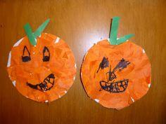 Pumpkin Paper Plate Craft from extra art supplies