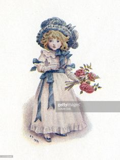 'Taking in the roses' by Kate Greenaway. Young Victorian girl with roses.