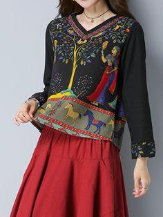 Gracila Women Ethnic Print V-neck Long Sleeve Blouses