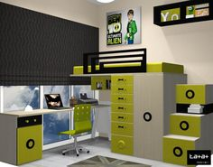 dormitorio infantil con cama elevada, dibujos 3D Kids Room Furniture, Bed Furniture, Furniture Projects, Teen Bedroom Designs, Girls Bedroom, Tiny Loft, Bunk Rooms, Teenage Room, Bedroom Colors