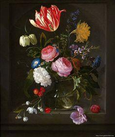 Jan Davidsz de HEEM (1606 Utrecht - Anvers 1684) et Elias van den BROECK (1650 - Amsterdam - 1708) Vase de fleurs dans une niche