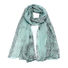 BeautyVan Women Lady Sun Protection Gauze Kerchief Classical Print Scarf Scarves green >>> Want to know more, click on the image.