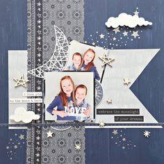 Embrace the Moonlight - Kaisercraft - Stargazer Collection Travel Scrapbook, Scrapbook Albums, Scrapbook Cards, Christmas Scrapbook Layouts, Scrapbooking Layouts, Thing 1, Creative Memories, General Crafts, Stargazing