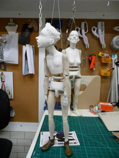 Marionettes of Oliver and Jubilee, under construction, from Penny Plain by Ronnie Burkett, taken from the Facebook page of Ronnie Burkett Theatre of Marionettes.