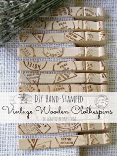 DIY Stamped Vintage Wooden Clothespins