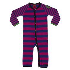 Villervalla barnkläder - heldress l/s RANDIG DRK FUCHSIA/DRK BLAC