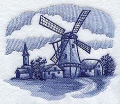 Retro Embroidery Ideas Machine Embroidery Designs at Embroidery Library! Windmill Art, Hand Towels Bathroom, Dish Towels, Holland Windmills, Delft Tiles, Lazy Daisy Stitch, Vintage Embroidery, Embroidery Ideas, Tole Painting