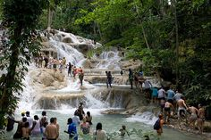 Dunn River Falls-Ocho Rios Jamica  This is a great experience. Looking back and remembering our honey moon summer of 2000.  So fun!!! WANT TO GO BACK! Unforgettable day!