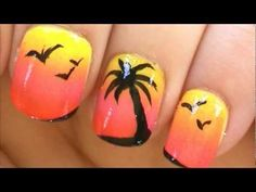 Here is a fun and cute palm tree design for the summer! I used a sponge to create a gradient sunset for the background, then used black acrylic paint to draw a palm tree (black nail polish works also). On the other nails I decided to put little birds by making small v shapes, but you could leave them blank or put more palm trees. Hope you enjoy ...