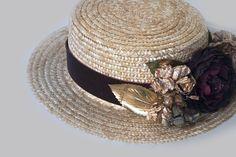 Sombrero Canotier de Cantuc para invitada a una boda de dia para alquiler o compra.