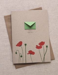 Articoli simili a Hello Poppies - Tiny Envelopes Card su Etsy, Handmade Envelopes, Cute Envelopes, Tarjetas Diy, Karten Diy, Envelope Art, Creative Gift Wrapping, Hand Illustration, Blank Cards, Diy Cards