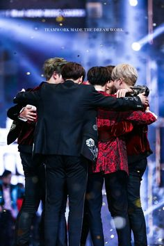 """RM once said, """"Teamwork makes the dream work."""" Now, I'm so proud of my boys because our (BTS and ARMYs) teamwork made the dream work. ❤ [photo ctto]"""