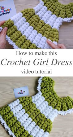 Make this beautiful crochet girl dress for any special child in your life. This dress is so easy and fun to crochet, you are going to want to make more! Watch this free video tutorial to learn how to Crochet Girls Dress Pattern, Baby Girl Crochet, Crochet Baby Clothes, Crochet Patterns, Crochet Puff Flower, Crochet Summer Dresses, Diy Crafts Crochet, Beautiful Crochet, Baby Knitting