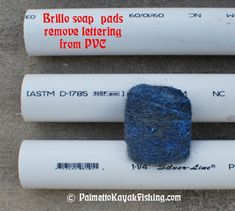 Once the PVC segments are cut, use Brillo soap pads and some water to remove the lettering from the PVC. My dad taught me this trick about 17 years ago when he would make furniture-grade rod holders (Bottle Rocket Pvc Pipes) Pvc Pipe Crafts, Pvc Pipe Projects, Projects To Try, Diy Crafts, Kayak Fishing, Fishing Tips, Fishing Stuff, Kayak Crate, Pvc Furniture