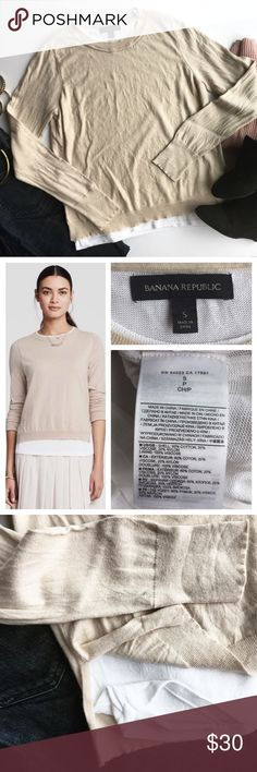 """- BANANA REPUBLIC - Tan Double Layer Sweater This sweater does all the work for you! Effortlessly get the perfect layered look with this gorgeous sweater, simply add statement jewelry and heels and you're ready for work or a night out.  Excellent pre-loved condition, no flaws. Approx. Measurements  Bust: 17"""" Length: top layer 22"""" bottom layer 24"""" 🛍Bundle & Save 20% on 2+ items! 🙅🏼No trades / selling off of Posh.  ✨Offers always welcome!✨ Banana Republic Sweaters Crew & Scoop Necks"""