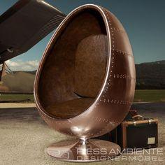 Design Lounge Sessel Sitzei SPACE EGG Kupfer genietet V