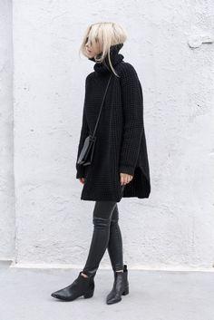 all black. crossbody bag. oversized knit turtleneck. leather leggings. booties. fall. autumn.