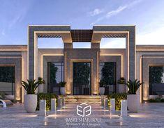 Basel Sharholi on Behance Modern Bungalow Exterior, Classic House Exterior, Modern Exterior House Designs, Dream House Exterior, Exterior Design, House Outside Design, House Gate Design, Facade Design, Gate Designs Modern