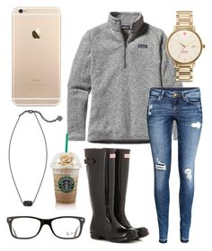 """""""Rainy day☔️"""" by jadenriley21 on Polyvore featuring Patagonia, H&M, Hunter, Kate Spade, Kendra Scott and Ray-Ban"""