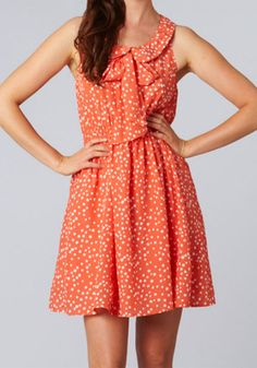 Coral with polka dots - Walking on Sunshine Dress $49.95