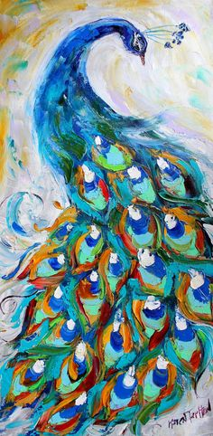 Original oil painting Peacock by Karen's Fine Art – Gallery Represented Modern Impressionism in oils impasto canvas painting on gallery wrapped