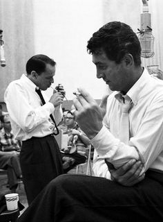 Frank Sinatra and Dean Martin in the studio, 1958. Photo by Allan Grant.