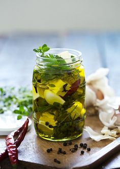 Garlicky Marinated Soft Feta with Herbs & Chilli | The Cook Who Knew Nothing