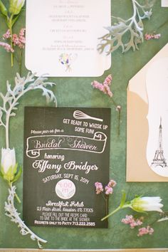 French Brunch Inspired Bridal Shower - Style Me Pretty French Bridal Showers, Retro Bridal Showers, Wedding Invitation Suite, Wedding Stationary, Bridal Shower Invitations, Invitation Ideas, Bridal Shower Photography, Wedding Photography, Picnic Theme
