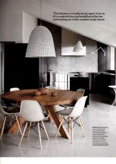 chic metal wood monochrome white and wood eames style dining scandinavian style seen in Elle Decoration the DSW pops up retro comfort..