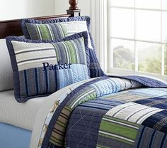 Find boys' comforter sets and quilts at Pottery Barn Kids. Create a bed your boy will love whether it be a fun print or his favorite characters. Man Quilt, Boy Quilts, Boys Comforter Sets, Science Bedroom, E Room, Quilt Bedding, Baby Furniture, Kids Bedroom, Bedroom Ideas