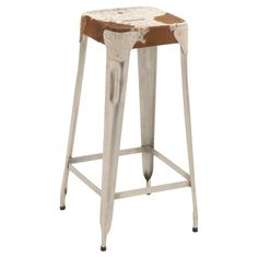 DecMode Square Backless Metal/Hide Seat Barstool - 8088