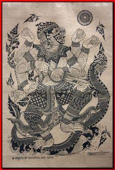 Thai traditional art of Hanuman And Naga by silkscreen printing on cotton (1)