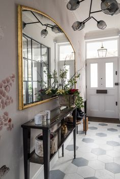 Light antiqued mirror with light foxing surrounded in a gilded frame for a private residence in London - by Rupert Bevan Mirror Panels, Panel Doors, Glass Panels, Fireplace Wall, Living Room With Fireplace, Antique Mirror Glass, Antiqued Mirror, Babington House, Chimney Breast